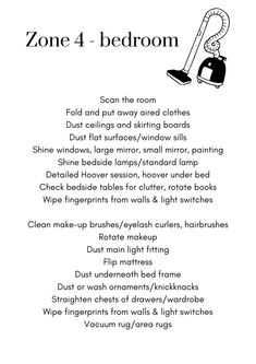 💡 PRINTABLES – ZONE 4 CLEANING/DECLUTTER LIST – DianeDenmark.com Fly Lady Cleaning, Zone Cleaning, Diy Home Cleaning, Household Cleaning Tips, Cleaning Checklist, House Cleaning Tips, Spring Cleaning, Cleaning Hacks, Bedroom Cleaning