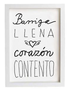 Spanish Saying Kitchen Art typography - Barriga llena corazón contento - archival fine art giclée print Happy Heart, Kitchen Art, Kitchen Quotes, Spanish Quotes, Are You Happy, Art Quotes, Giclee Print, Fine Art Prints, Typography