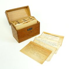 Wood Recipe Box with Dividers and Handwritten by AttysVintage
