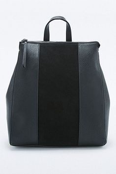 Zip Top Square Black Suede Backpack - Urban Outfitters