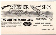 Bomber Spinstick & Stick Fishing Lures Gainesville,TX - 1957 Ad