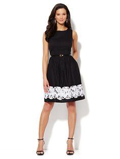 Love New York & Company  Rose-Applique Scoopneck Dress