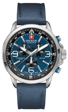 Swiss Military 6-4224-04-003 Mens Arrow Blue Chronograph Watch