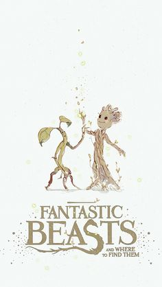 Tronquilho (Animais Fantásticos) and Groot (Guardiões da Galáxia)  http://rdjlock.tumblr.com/post/153770453149/fantasticbeasts-fanart