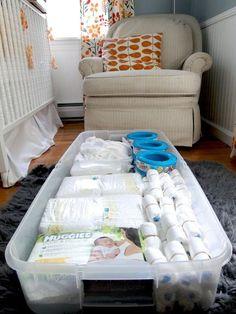 #MomTip: Use storage bins under the crib.