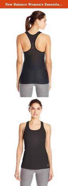 New Balance Women's Essential Tank Top, Small, Black. Basic doesn't have to be boring, especially with the New Balance Essential Tank. This simple tank is packed with style, featuring a racerback silhouette with novelty mesh insets and back. Flat lock seams help minimize chafing, so you'll be comfortable whether you're kicking butt at kickboxing or strength training with weights. The reflective NB logo is not only eye-catching at the gym, but also in the dark.
