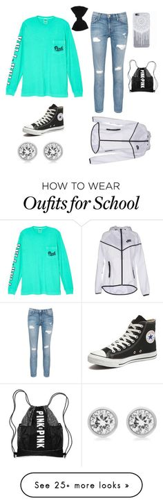 """Cute back to school outfit"" by mglnana on Polyvore featuring Victoria's Secret, Current/Elliott, Converse, claire's, Michael Kors and NIKE:"