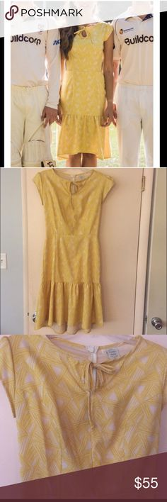 Shabby Apple Walk About dress Beautiful yellow silhouette. Worn once to the horse races! Stunning and feminine. Is a size six but would better fit a 4 in my opinion. Could fit a small 6. Shabby Apple Dresses