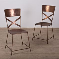 @Overstock - This set of two stackable chairs are finished in beautiful copper and feature a cross back design. This set includes foot pads to protect your floors from scratches.http://www.overstock.com/Worldstock-Fair-Trade/Set-of-Two-Jabalpur-Dining-Chair-Copper-India/6710417/product.html?CID=214117 $229.99