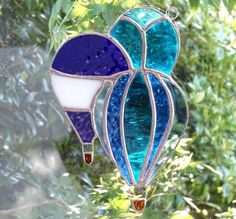 Stained Glass Hot Air Balloons Suncatcher - Blue and Turquoise £24.95
