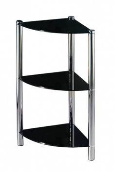 3 teir corner shelf - pre Corner Rack, Corner Unit, Corner Shelves, Black Glass, Chrome Finish, Bookshelves, It Is Finished, Chair, Modern