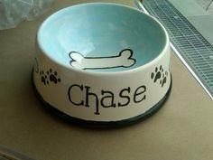 Hand-painted ceramic doggie bowl