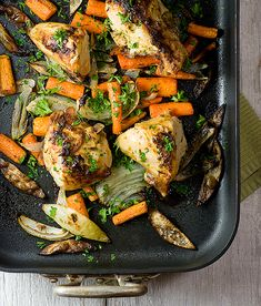 This delicious and hearty roast chicken and vegetables with a Dijon mustard sauce looks like it takes all day, but is quick enough for a weekday supper!