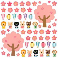 Animals and Cherry Blossoms by kawaii_fabric_and_paper, via Flickr
