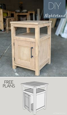 Build this DIY Nightstand with free plans and tutorial from Bitterroot DIY. This would also make a great DIY End Table! Free plans to build a shaker style DIY end table, complete with a cabinet for storage. This would also make a great DIY nightstand! Diy Furniture Easy, Diy Furniture Plans Wood Projects, Building Furniture, Woodworking Projects Diy, Furniture Makeover, Table Furniture, Furniture Storage, Furniture Making, Shaker Furniture