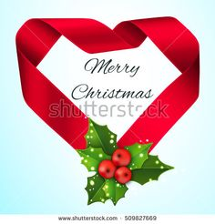 Christmas satin greeting ribbon.