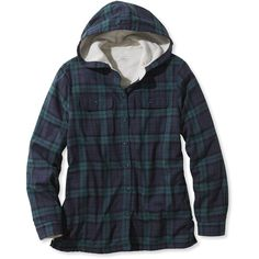 L.L.Bean Fleece-Lined Flannel Plaid Hoodie (99 CAD) ❤ liked on Polyvore featuring tops, hoodies, shirt hoodies, lined flannel shirt, collared shirt, fleece lined flannel shirt and hoodie shirt