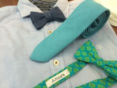 Men's light blue shirt combined with a denim tie or bow tie or with a cotton bow tie. Goes great with jeans or dress pants.