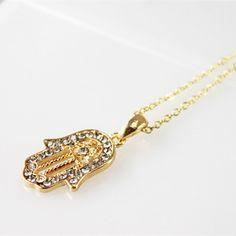 Hamsa Fatima Hand Pendant Charm Golden Chain Necklace Jewish Judaica Kabbalah