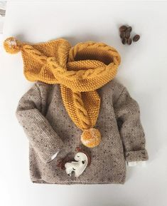 Baby Knitting Patterns For Kids Scarf for happy autumn . Knitting Patterns Boys, Knitting For Kids, Crochet Patterns, Crochet Ideas, Knit Fashion, Boy Fashion, Baby Boy Outfits, Kids Outfits, Style Baby