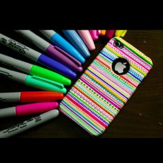tribal phone case with sharpies.