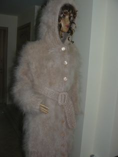 Mohair coat with hood