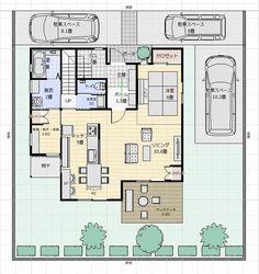 間取り成功例40坪 広い庭と広いLDKでのびのびと生活を楽しむ家   アトリエコジマ~注文住宅理想の間取り作りと失敗しないアイデア・実例集~ Japanese House, House Plans, Floor Plans, Layout, Interior, Room, Homes, Spaces, Houses