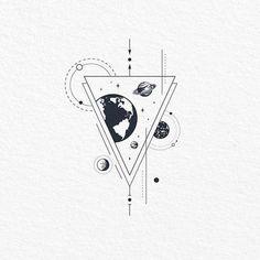 geometric tattoo Illustration by tanya_butskaya Geometric Tattoo Design, Geometric Drawing, Geometric Tattoos, Geometric Art, Geometric Sleeve, Geometric Universe Tattoo, Small Geometric Tattoo, Space Drawings, Pencil Art Drawings