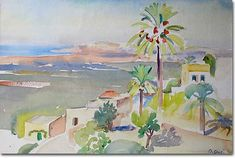 The Village of Baabda - Omar Onsi Watercolor Scenery, Traveller's Tales, Fine Art Photography, Impressionist, Printmaking, 21st, Sculpture, Drawings, Illustration