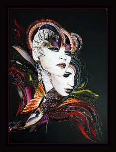 "The ""Devilqueen"", mixed media fashion collage. collage #darpics. double mask of a women (who has two faces) handmade by Daria Semyonova. 3D effect original, handmade,100x70cm, canvas base"