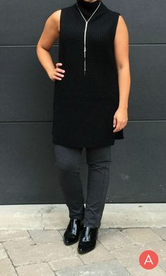 Sleeveless Knit Tunic. Add a long necklace to elongate for shorter women.