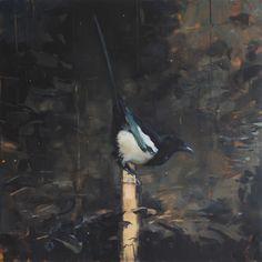 Eva de Visser – Title: Magpies (Eksters). Oil on wood. Left panel of two. W: 60 cm x H: 60 cm. 2017