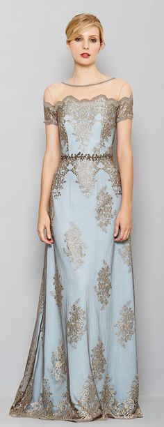 Muted blue with taupe lace.