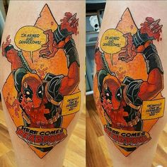 Cool Deadpool tattoo by @benhorrocks   #deadpool #deadpooltattoo #marvel #comicbook #marvelcomics #videogametattoo #comics Thanks Ben! =D