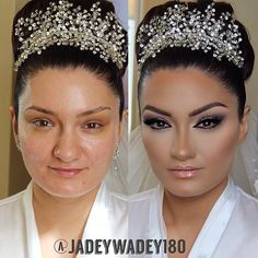 Dramatic Glamsformation  Put in major werk on this beautiful bride! She wanted the full Airbrush treatment with non-surgical face & nose sculpting! We did a double-winged glitter smokey eye & stacked lashes! I gave her a high arched brow with #ABH brow wiz. pomade & concealer! #Gerard Star Powders for that ultra glow! No altering or editing of photo, just lots of flawless makeup, highlighting & of course, contouring