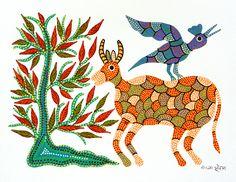 Deer and Bird by Shanta Bhuriya : FolkPaintingsIndia