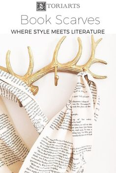 """Book Scarves handmade in Portland, Oregon by Storiarts. America-sourced 100% cotton jersey knit creates a luxuriously soft """"page"""" from your favorite book to curl up in. This is where style meets literature. Ideal gifts for teachers, librarians, bookworms and readers of any fashion!"""