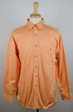 George Strait Men's Large Solid Orange Long Sleeve Button Front Shirt Used #GeorgeStrait #ButtonFront