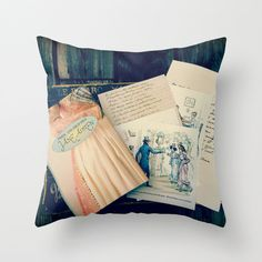 Pillow Cover made from my original fine art photograph Jane Austen which features a pretty copy of the book with copies of her letters and