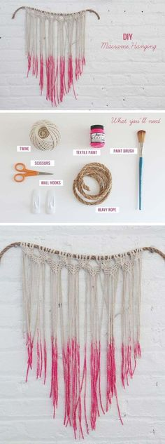 Pink DIY Room Decor Ideas - DIY Macrame Hanging - Cool Pink Bedroom Crafts and Projects for Teens, Girls, Teenagers and Adults - Best Wall Art Ideas, Room Decorating Project Tutorials, Rugs, Lighting and Lamps, Bed Decor and Pillows http://diyprojectsforteens.com/diy-bedroom-ideas-pink