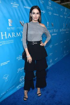Camilla Belle Turtleneck - Camilla Belle looked tres trendy in a gray cold-shoulder turtleneck by Osman while attending a UN event.
