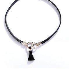 Black Short Tassel  Collares Necklace For Women  2017 Fashion Choker Necklaces&pendants Wholesale