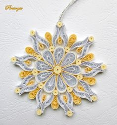 Gold/White Snowflake Quilled by Pinterzsu