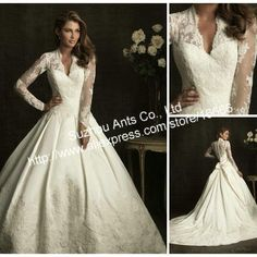 So Kate Middleton!...CW159 2012 Formal A-Line White Princess Lace and satin Long Sleeve Wedding Dress With Detachable Train