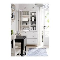 IKEA - HEMNES, Glass-door cabinet with 3 drawers, white stain, , Solid wood has a natural feel.Large drawers for hidden, dust-free storage.The small drawer is perfect for small items such as pens and cutlery.The concealed drawer runners ensure that drawers run smoothly even when heavily loaded.The door