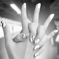 bright mirror silver and white swim nail wraps like minx nails