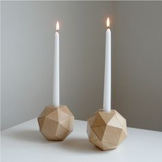 ...these geometric wood candlestick holders, because they are BEYOND cool, and Santa likes that I'm trying to be.