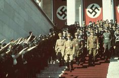 Hitler and his Nazi party officials walk at the 1938 Nuremberg rally. Richard J Evans's The Third Reich in History and Memory is published by Little, Brown on 26 February. Nuremberg Rally, History Essay, History Magazine, Life Magazine, The Third Reich, Pictures Images, Photos, World War Ii, Wwii