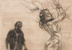 Thorny issues: Diane Victor's piece Daphne presents a naked woman caught in a thorny bush, with a threatening male figure lurking in the background. Painting Tutorial, Art Syllabus, Fine Art, Victor, Male Figure, Visual Art, Art, South African Art, South African Artists
