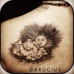 Engraved sun and clouds tattoo by Brucius